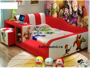 Giường ngủ cho bé đẹp bọc da nhập khẩu cao cấp đỏ B021-D