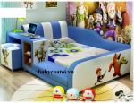 Giường ngủ bé trai bọc da nhập khẩu cao cấp xanh B021-X