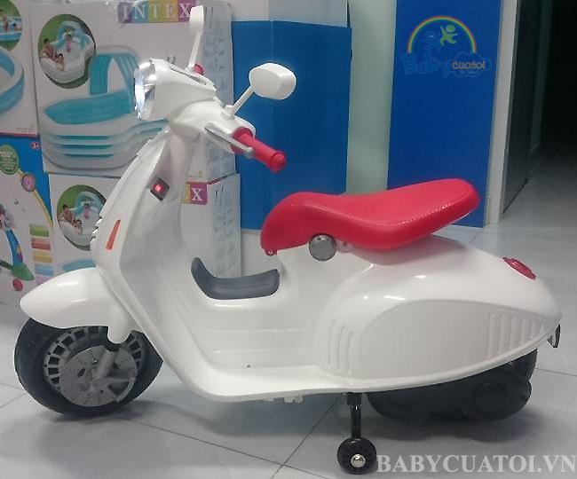 Xe máy điện Vespa trẻ em cao cấp BBT-666 màu trắng