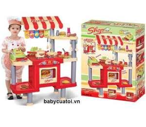 Bộ đồ chơi nấu ăn đỏ cao cấp có máy tính tiền 008-33
