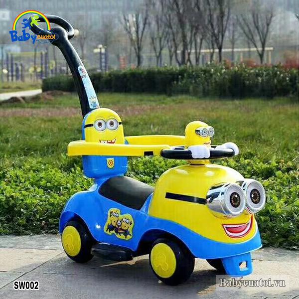 Xe chòi chân kết hợp xe đẩy Minion cao cấp SW002