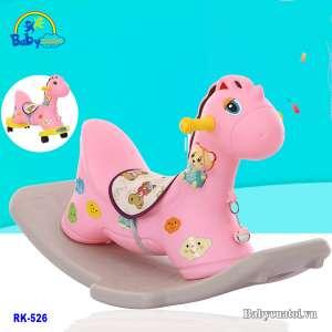 Ngựa bập bênh nhập khẩu có nhạc màu hồng RK-526H