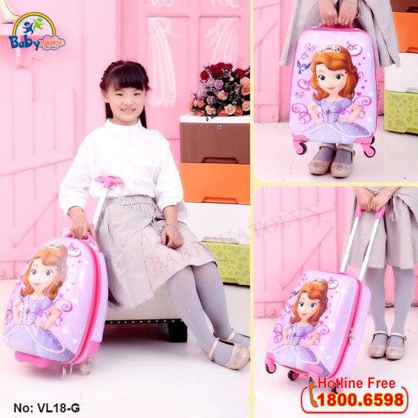 Vali trẻ em bé gái công chúa Sofia 18 inch VL18-G5