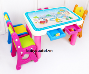 Bộ bàn ghế cho bé nhập khẩu 1 bàn 1 ghế mầu F004B