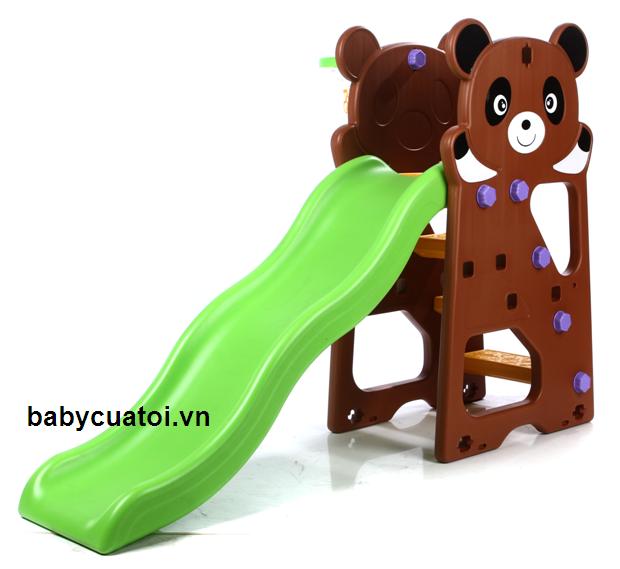 cầu trượt trẻ em gấu trúc nâu máng xanh N002A