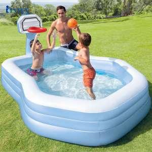 Bể bơi phao gia đình có cột ném bóng rổ INTEX 57183