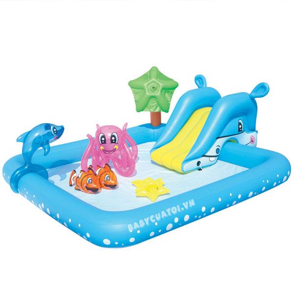 Bể bơi phao cầu trượt có vòi phun mưa Bestway 53052