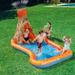 Bể bơi phao cầu trượt có vòi phun mưa núi lửa Bestway 53063