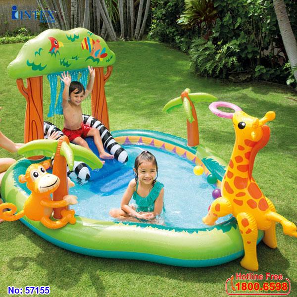 Bể bơi phao cầu trượt vườn bách thú có vòi phun mưa INTEX 57155