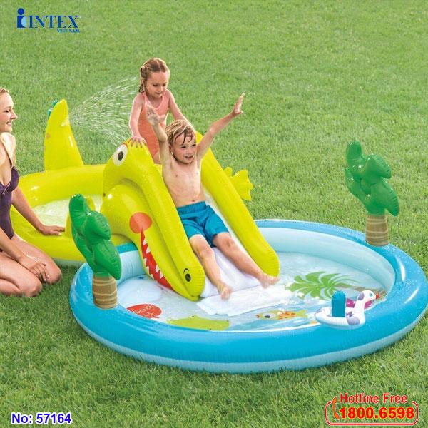 Bể bơi phao cầu trượt cá sấu có vòi phun mưa INTEX 57164