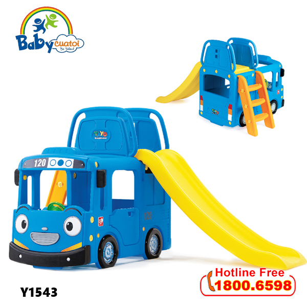 Cầu trượt bể bóng Hàn Quốc xe Bus Tayo 3 trong 1 Y1543_1