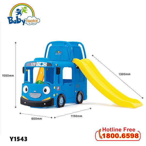 Cầu trượt bể bóng Hàn Quốc xe Bus Tayo 3 trong 1 Y1543_6