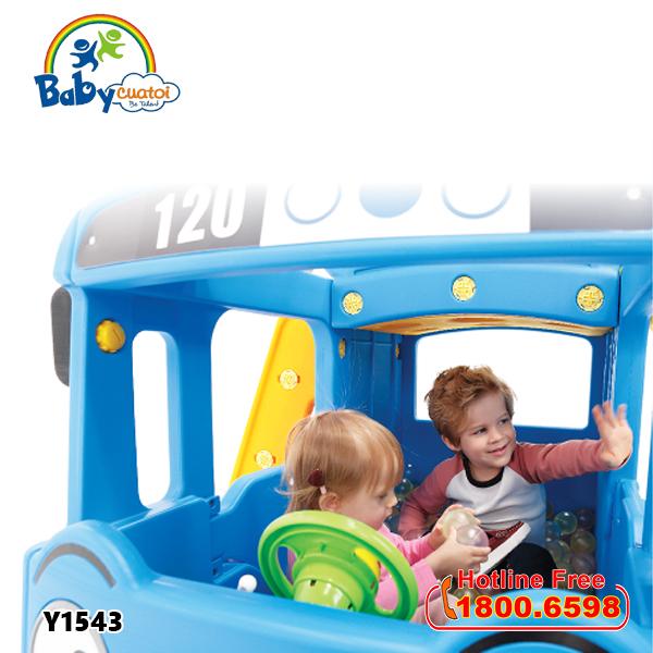 Cầu trượt bể bóng Hàn Quốc xe Bus Tayo 3 trong 1 Y1543_7