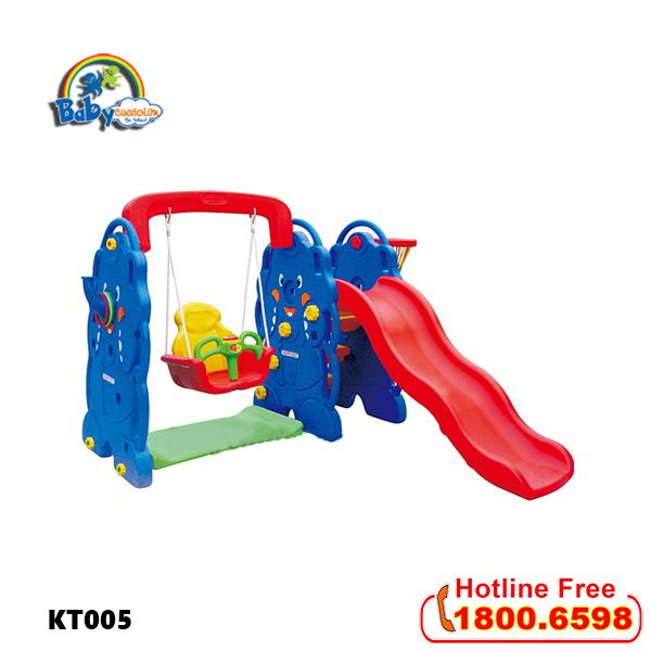 Cầu trượt cho bé có xích đu hình con voi KT005_1
