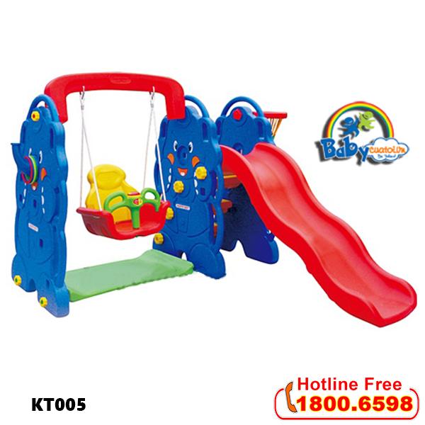 Cầu trượt cho bé có xích đu hình con voi KT005
