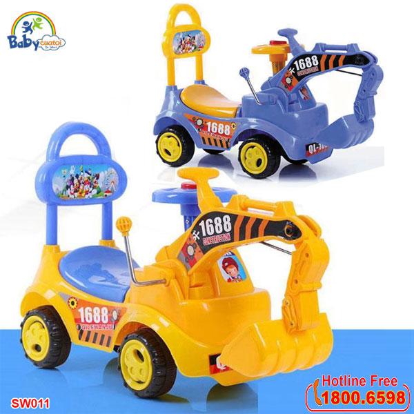 Xe chòi chân cần cẩu máy xúc cho bé SW011