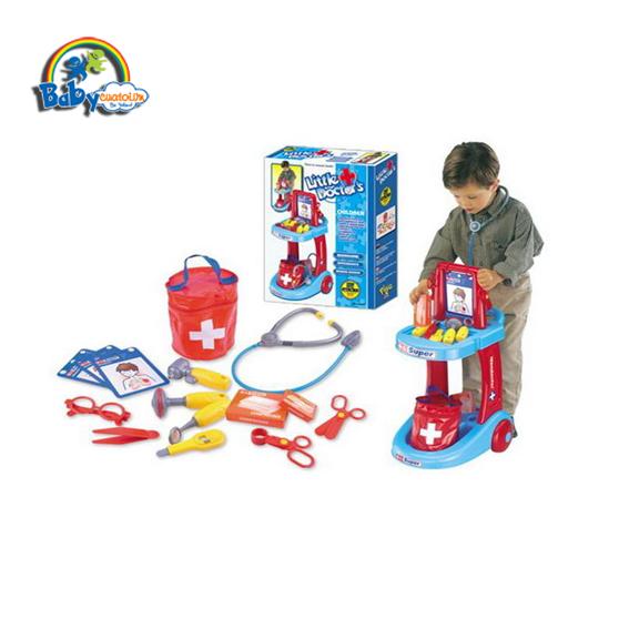 Bộ đồ chơi bác sĩ cao cấp có xe đẩy màu xanh 63008