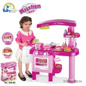 Bộ đồ chơi nấu ăn cao cấp có máy hút mùi hồng 008-82