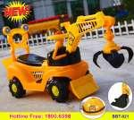 Xe điện cho bé cần cẩu 2 gầu kèm mũ BBT-921B