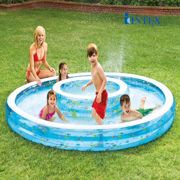 Bể bơi phao Intex 2 vòng có vòi phun mưa 57143