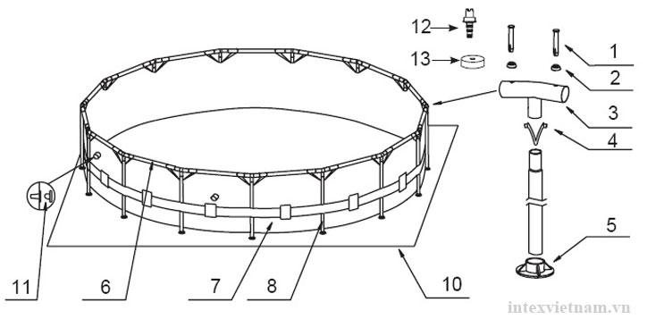 Bể khung kim loại tròn 4m57 có máy lọc nước INTEX 28236