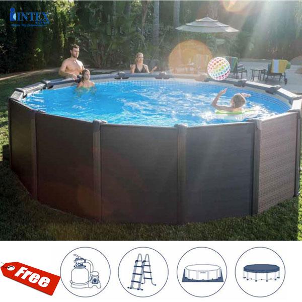 Bể bơi khung kim loại chịu lực giả gỗ 4m78 INTEX 26384