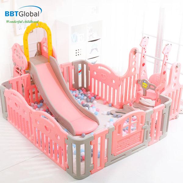 Bể bóng kèm cầu trượt xích đu BBT Global màu hồng BSL303