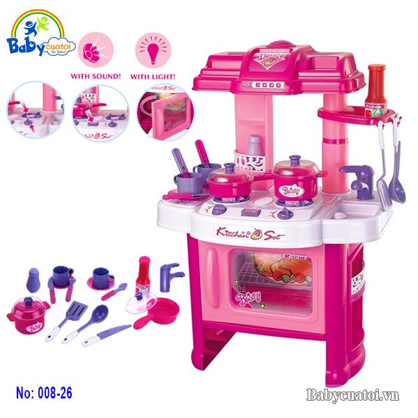 Đồ chơi nấu ăn cao cấp màu tím hồng 008-26