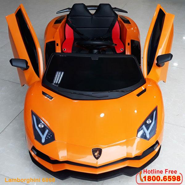 Ô tô Lamborghini màu cam ghế da bánh cao su BBT-6868CCC