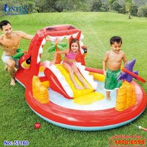 Bể bơi phao cầu trượt khủng long có vòi phun mưa intex 57160