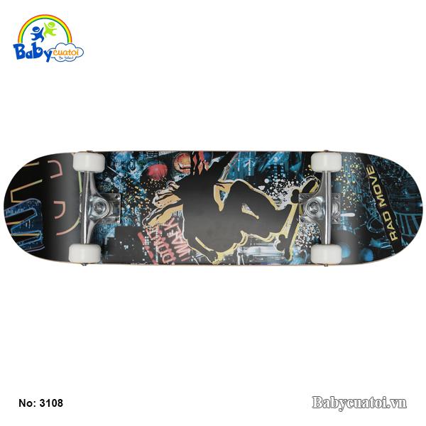 van truot skateboard cho be cao cap mau den vang 3108-DV