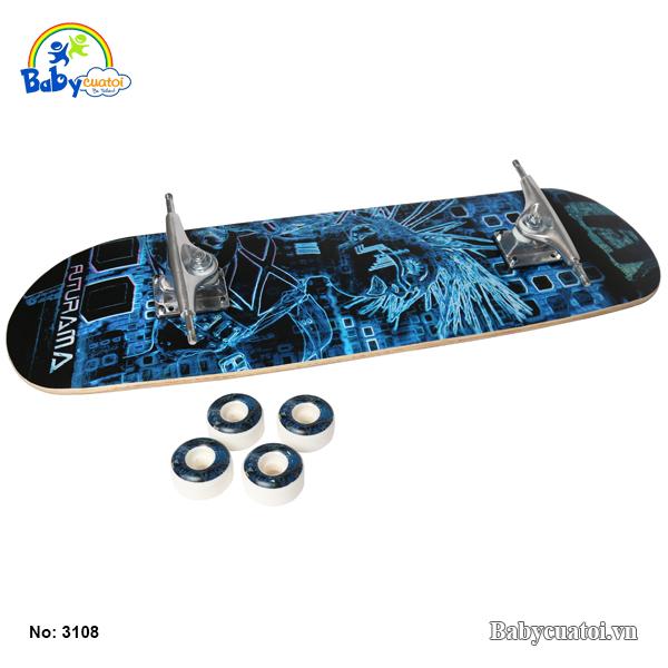 van truot skateboard cho be cao cap mau xanh duong 3108-X-3