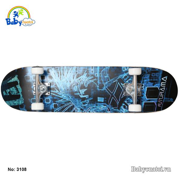 van truot skateboard cho be cao cap mau xanh duong 3108-X