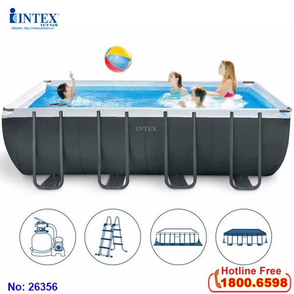 Bể bơi lắp dựng khung kim loại chịu lực cỡ lớn mẫu mới INTEX 26356