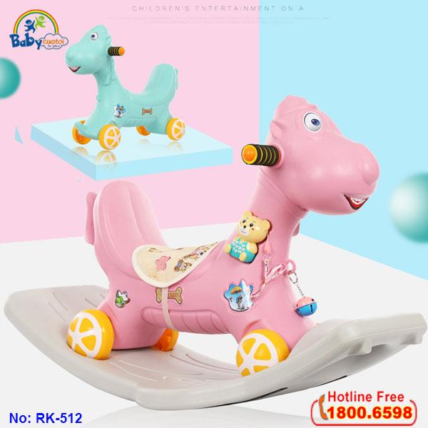 Ngựa bập bênh kết hợp xe chòi chân có nhạc cho bé RK-512