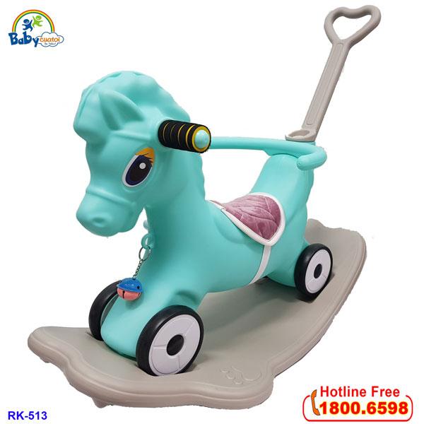 Ngựa bập bênh kết hợp xe đẩy có nhạc cho bé RK-513
