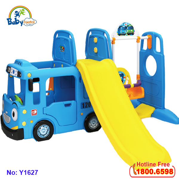 Cầu trượt xích đu bể bóng Hàn Quốc xe Bus Tayo Y1627 + Y1543