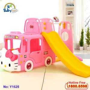 Cầu trượt xích đu bể bóng Hàn Quốc xe Bus Hello Kitty Y1628 + Y1601
