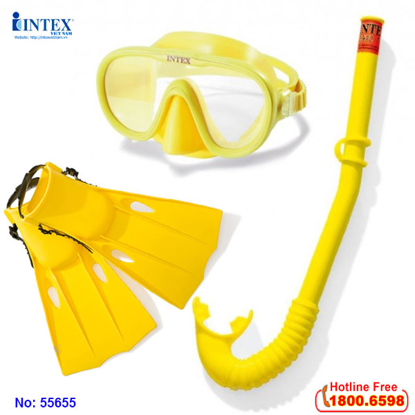 Kính bơi chân vịt ống thở trẻ em INTEX 55655