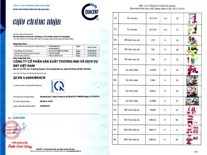 chứng nhận chất lượng xe chòi chân trẻ em SC1006A