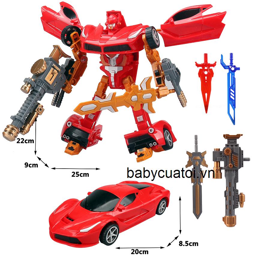 đồ chơi rô bốt biến thành ô tô L015-3 đỏ