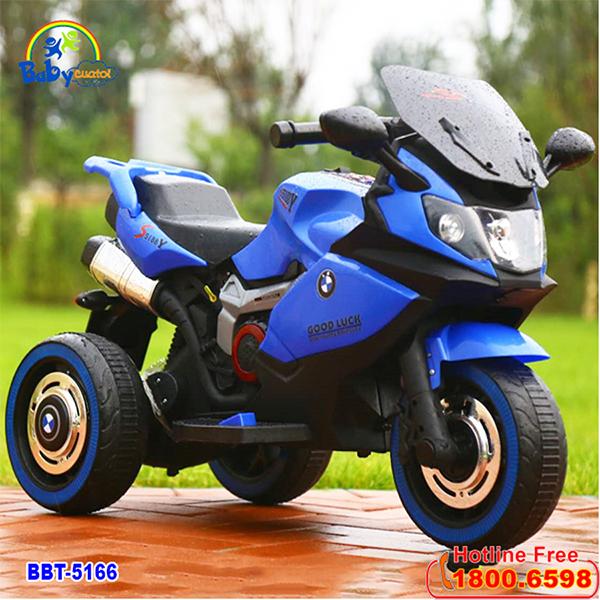 Xe máy điện trẻ em BMW 2 động cơ màu xanh dương BBT-5166X