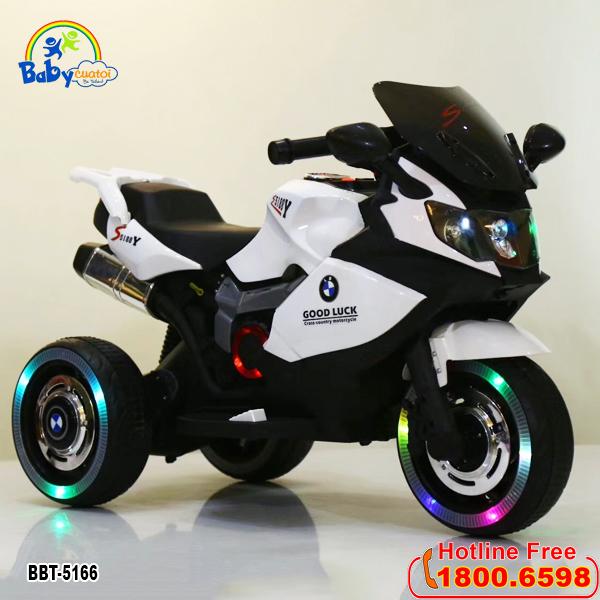 Xe máy điện trẻ em BMW 2 động cơ trắng BBT-5166T