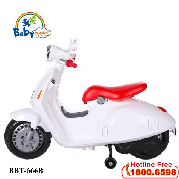 Xe máy điện Vespa trẻ em cao cấp 12V màu trắng BBT-666B-T