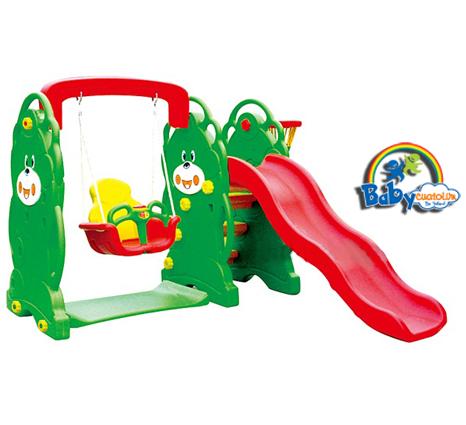 Cầu trượt cho bé có xích đu liên hoàn hình gấu KT004