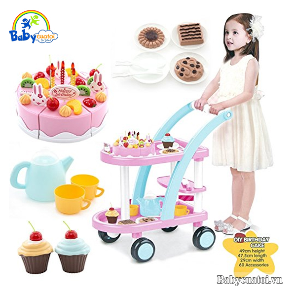 Đồ chơi xe đẩy bánh ngọt cao cấp 889-15B