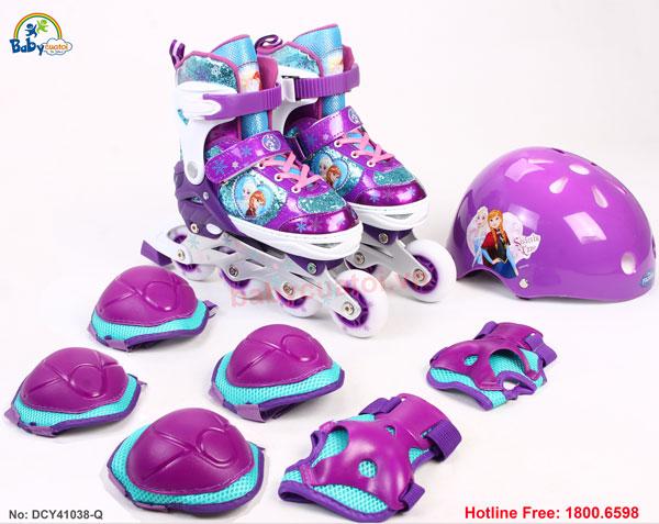Bộ giày trượt Patin gồm mũ và bảo vệ công chúa Elsa DCY41038-Q