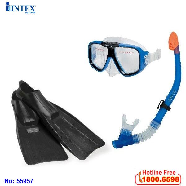 Bộ kính bơi, chân vịt, ống thở người lớn INTEX 55957