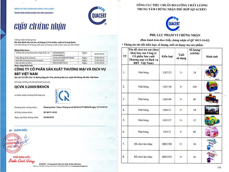 giấy chứng nhận chất lượng CR