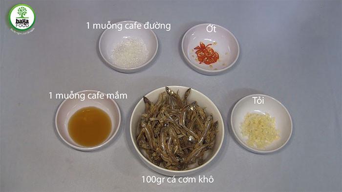 Nguyên liệu rim cá cơm khô mặn ngọt ngon